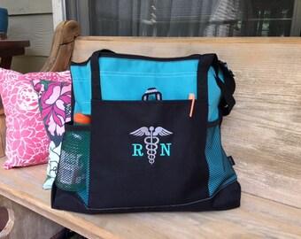 Nurse Caduceus Emblem Tote Bag.  Nurse tote bag.  RN tote bag.  Caduceus tote bag. 6 bag colors to choose from.  ID 1100