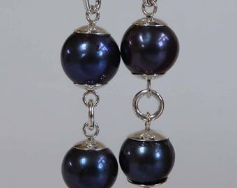 Long freshwater pearl silver earrings dark blue colour