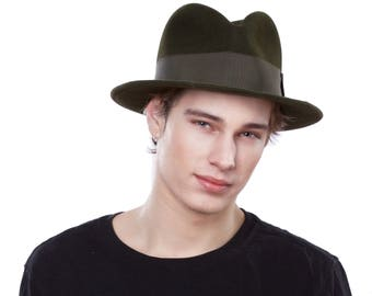 Men's Hat 1930s Hat Fedora Men's Gifts 1920s Hats Men's Hats Men's Fedora 1940s Hats Great Gatsby Men's Hat Army Green Fedora Felt Hat