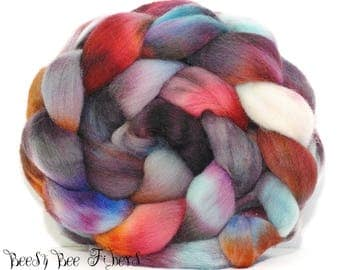 ROGUE - Falkland Hand Dyed Roving Combed Top Wool Felting, Spinning Fiber, Wool Roving for Spinning
