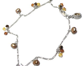 sterling silver chain citrine charm anklet crystal pearl