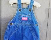 Girl's OshKosh Classic Blue denim Shortalls  size 12 months