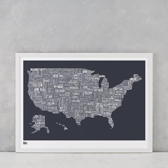USA Type Map, USA Word Map, United States Screen Print, United States Wall Poster, USA Wall Poster, America Art Print
