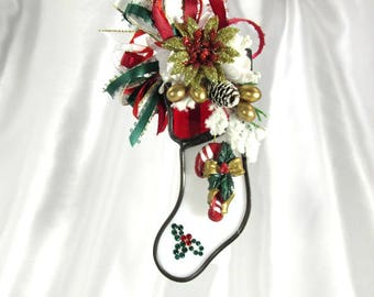 Red, Green and White Candy Cane Stocking Christmas Decorated Stained Glass Ornament with Gold Accents