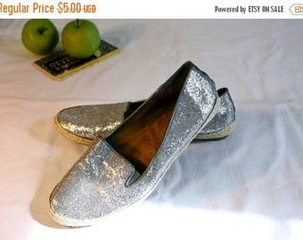 FLASH SALE Sparkle Party | Yuu Sparkly Canvas Ransey Silver Glitter Slip On Espadrilles w/ Rubber Soul | Womens 6.5 | Happy Princess Party S