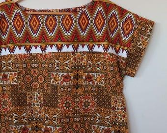 ethnique...loose fit ladies mini length shift in vintage cotton fabrics