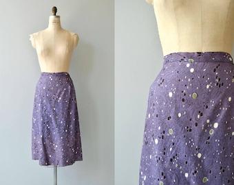 Cosmos rayon skirt | vintage 1950s skirt | printed 50s pencil skirt