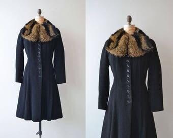 Saxby wool coat | vintage 1930s coat | fur collar wool 30s coat