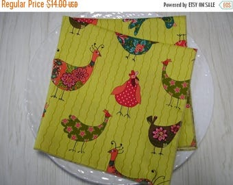 SALE Cloth Napkins Roosters Calico on Green Set of 4