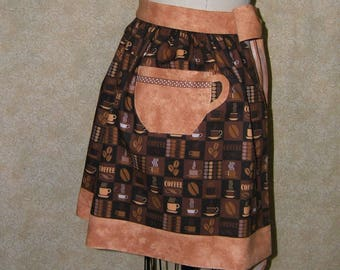 Perky coffee cup apron coffee cup pocket java hostess waist tie fully lined top stitched novelty pocket cotton coffee lover my own design