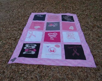 Tshirt Quilt made from your Breast Cancer Fundraising Shirts