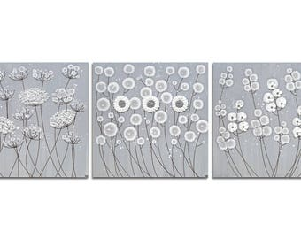 Neutral Canvas Art Painting of Flowers in Gray and White - Textured Wall Art - Extra Large 62x20