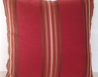 """16"""" x 16"""" Square Throw Pillow Cover Striped Stripes Red Maroon Burgundy Merlot Brown Olive Silk-Blend French Country English Cottage"""