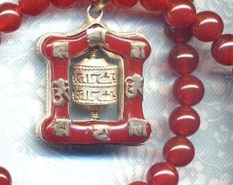 Tibetan Prayer Wheel Necklace, Buddhist Necklace, Genuine Carnelian Onyx Necklace, LAST Prayer Wheel Pendant, Handmade Nepal Jewelry