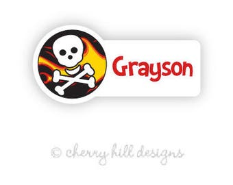 flames and skull Mini die cut labels 1.5 inches wide - seen in Parents Mag and Family Fun Mag - waterproof - does not fade - dishwasher safe