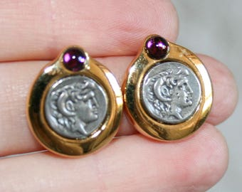 Vintage Silver and Gold Coin Post Earrings