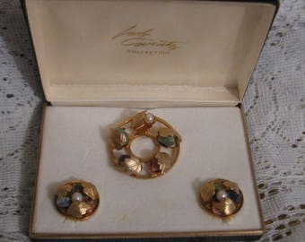 Vintage Sarah Coventry Brooch Pin and Earrings Set - Goldtone - Gorgeous!