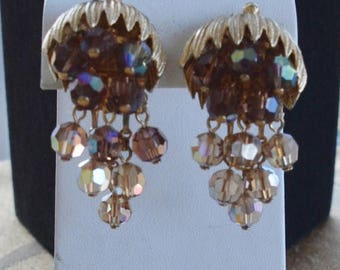 On sale Beautiful Vintage Brown Aurora Borealis Crystal Waterfall Clip Earrings, Gold tone