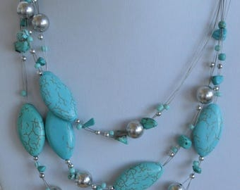 """On sale Pretty Vintage Turquoise, Silver tone, Beaded Multi-Strand Necklace, 16-1/2""""19-1/2"""""""