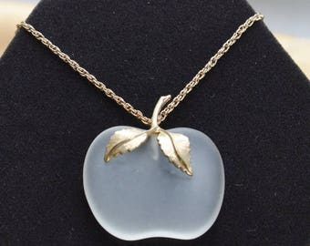 """ON SALE Pretty Vintage Frosted Glass Apple Pendant Necklace, Gold tone, 28"""", Avon (AD17)"""