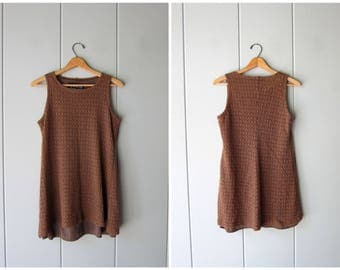 vintage 90s mini dress brown cut out mesh sundress dress with holes minimal open knit tunic top Swimsuit Beach Cover Up Summer Dress XS