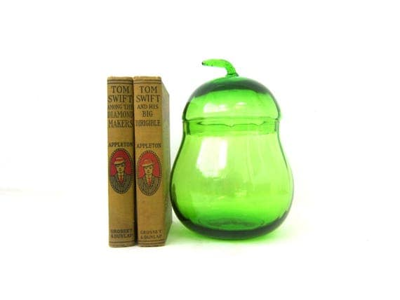 Green Glass PEAR Canister Jar Vintage Glass Jar with Lid Kitchen Storage Decor Lidded Canister Dish Kitchen Fruit Decor GS