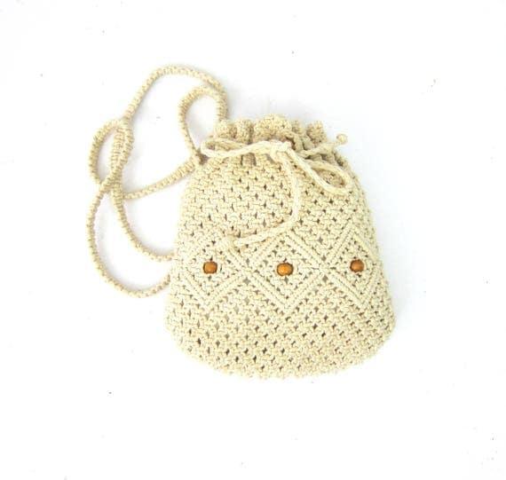 Off White Crochet Purse Long Across Body Pouch Purse Small Crossbody Bag Vintage Macrame Woven Fabric Drawstring Purse Boho Bag Knit Minimal