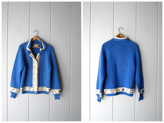 Vintage 50s wool sweater Italian Blue wool button up cardigan sweater collared knit sweater 1950s Ski Sweater Womens Large Medium