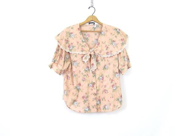 Pink Floral Blouse 1980s Tie Collar Bib Top Short Sleeve Boho Prairie Shirt Flower Print Pattern Top Shirt Womens Button Up Size Large XL