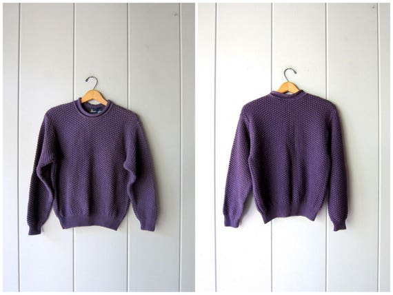 90s Purple Sweater Popcorn Knit Sweater Nubby Cotton Fall Sweater Peppy Minimal 1990s Pullover Vintage Lizsport Crop Knit Top Womens Small