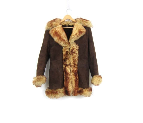 1970s Brown Leather Like Jacket with Large Faux Fur Collar Bohemain Hippie Parka Coat Boho Winter Coat Vintage Women Small Medium