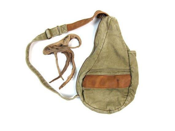 Vintage Canvas & Leather Shoulder Bag Unisex LL Bean Backpack Rucksack One Shoulder Tote Rugged Outdoors Bag Green Canvas Shoulder Sling