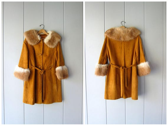 Vintage Suede Coat w/ Fur Collar & Cuffs Butternut Brown Suede 50s Belted Coat 60s Princess Coat Winter Fall Vintage Womens Medium Large