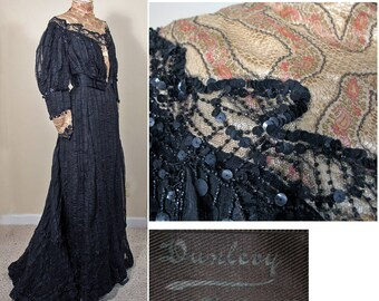 Victorian 1900s Black Silk Gown with Beading by Anna Dunleavy SZ XS - S