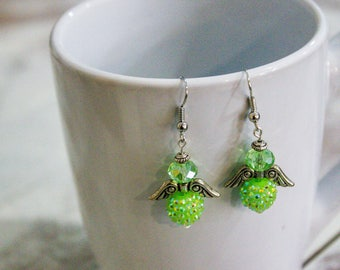 Dangle Earrings -  Green Angel