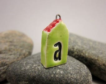 Lime Green *A*...TWO-SIDED House Pendant by elukka