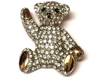 Vintage Carolee Teddy Bear Emerald Green Eyes Gold Rhinestone Brooch Pin