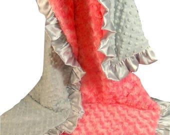SALE Coral Minky Minky Baby Blanket, Salmon Pink and Gray Baby Blanket, Coral Gray Baby BlanketCan Be Personalized