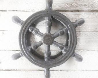 Ships Wheel Door Knocker, Door Knocker, Navy Blue, Beach House, Nautical Home Decor,Metal Wall Decor