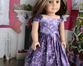 18 inch Doll Clothes -  Snow Princess Dress - PURPLE WHITE SILVER - Christmas Winter - fits American Girl
