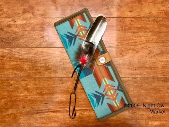 Feather Holder / Feather Case XL Wool Light Turquoise Star