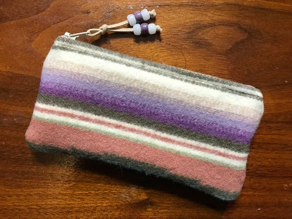 Wool Glasses  Case / Tampon Case / Zippered Pouch Pastel Serape Stripes