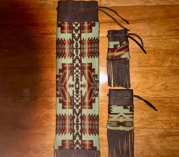 Wool and Leather Fringed Pipe Bag Set Shonto - Pipe Bag / Cedar Bag / Medicine Bag Set Running Buffalo
