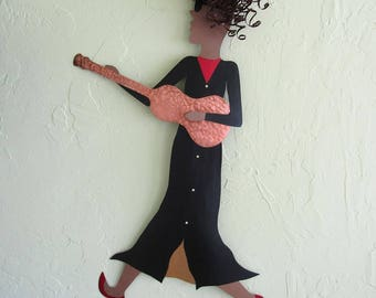 Metal Wall Large Musician Art Guitar Lady Wall Decor Jazz Group Band Stairway Wall Sculpture Recycled Metal Art Black White Red 30 x 20