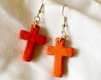 Simple Orange and Black Stone Cross Earrings