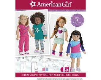 """Officially Licenced American Girl Doll Clothes Pattern for 18"""" Doll Pattern 4 Outfits Sportswear Workout Wear Doll Clothes Simplicity 8042"""