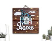 Hand Painted Wooden Sign Farmhouse Decor, Front Door Entry Rustic Home Decor, Housewarming Gift