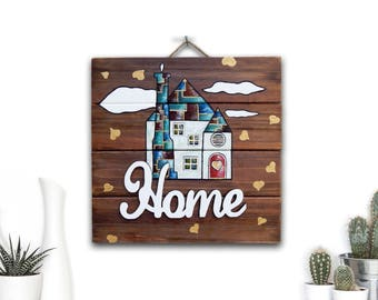 Wood Home Sign, Home Decor Wall Art, Rustic Home Decor, Farmhouse Wall Decor, Rustic Wood Sign, Wood Wall Art, Handpainted Sign