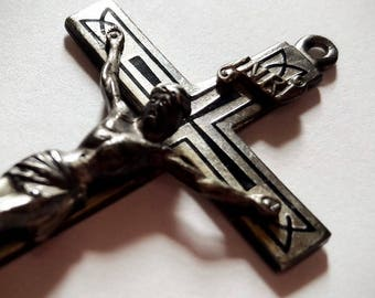 FABULOUS ENAMELED CRUCIFIX Solid Sterling Silver Art Deco design marked creed