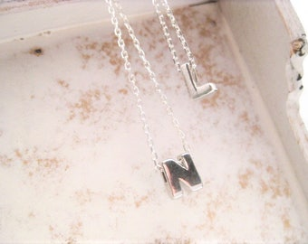 Teeny Tiny Sterling Silver Initial Necklace . Floating . Silder Intial Necklace
